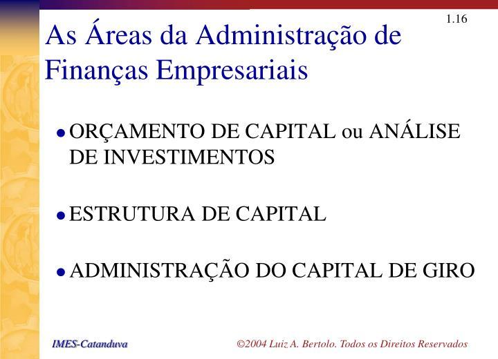 As Áreas da Administração de Finanças Empresariais