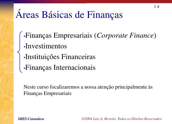 Áreas Básicas de Finanças