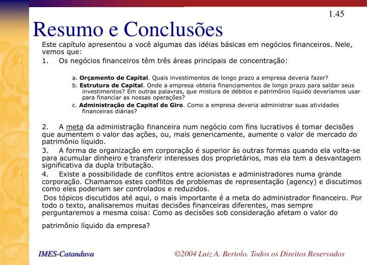 Resumo e Conclusões