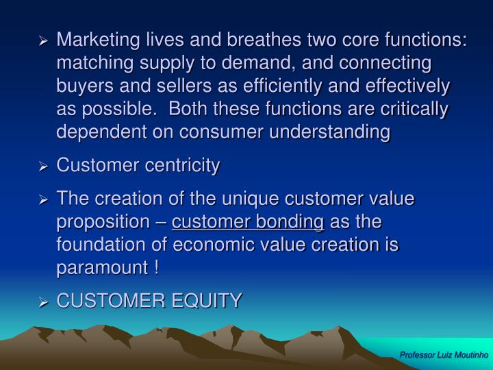 Marketing lives and breathes two core functions:  matching supply to demand, and connecting buyers and sellers as efficiently and effectively as possible.  Both these functions are critically dependent on consumer understanding