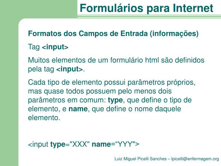 Formatos dos Campos de Entrada (informações)