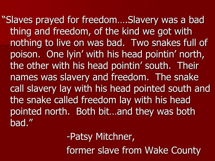 """""""Slaves prayed for freedom….Slavery was a bad thing and freedom, of the kind we got with nothing to live on was bad.  Two snakes full of poison.  One lyin' with his head pointin' north, the other with his head pointin' south.  Their names was slavery and freedom.  The snake call slavery lay with his head pointed south and the snake called freedom lay with his head pointed north.  Both bit…and they was both bad."""""""
