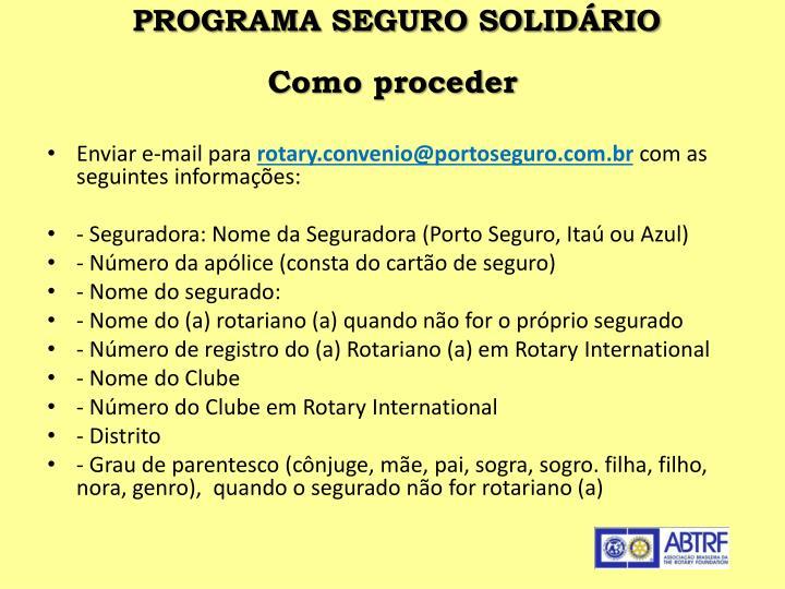 PROGRAMA SEGURO SOLIDÁRIO