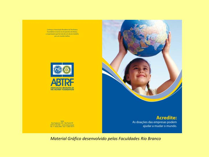 Material Gráfico desenvolvido pelas Faculdades Rio Branco
