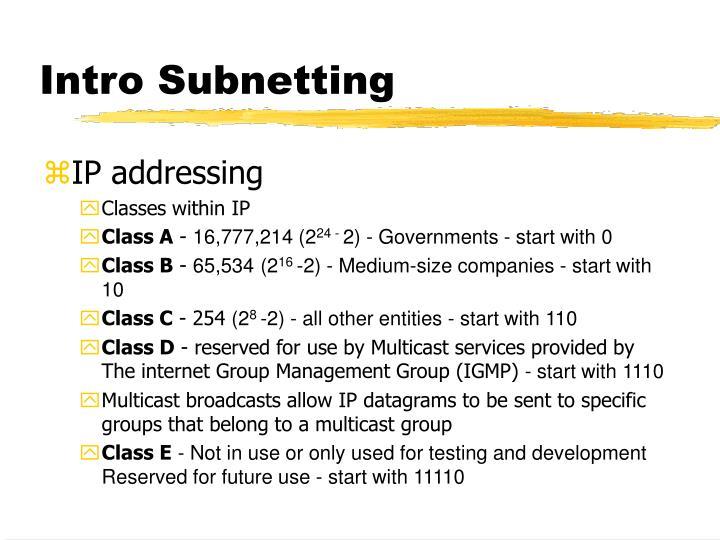 Intro Subnetting