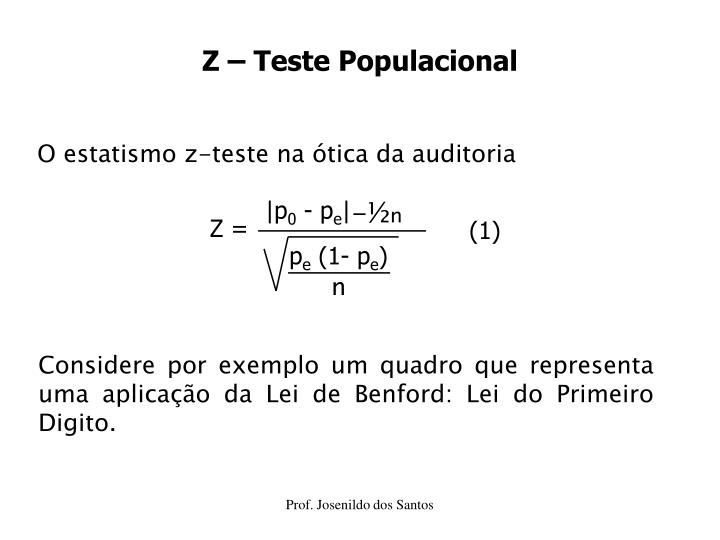 Z – Teste Populacional