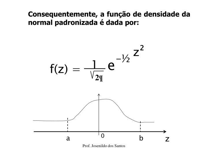Consequentemente, a função de densidade da normal padronizada é dada por: