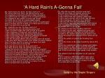 a hard rain s a gonna fall