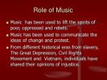 role of music