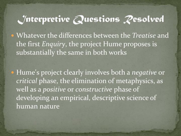 Interpretive Questions Resolved