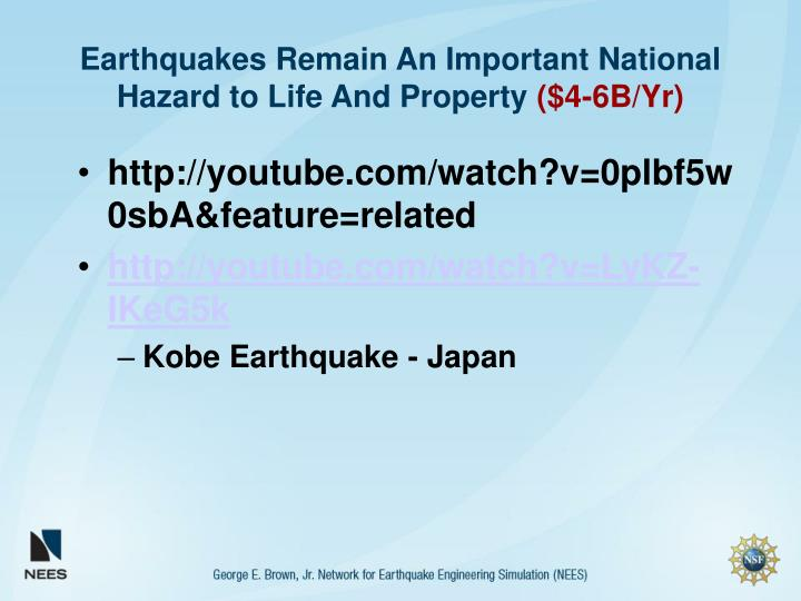 Earthquakes remain an important national hazard to life and property 4 6b yr