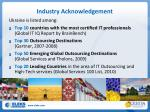 industry acknowledgement