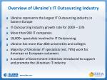 overview of ukraine s it outsourcing industry