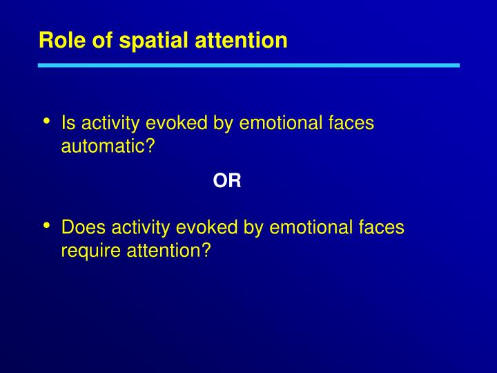 Role of spatial attention