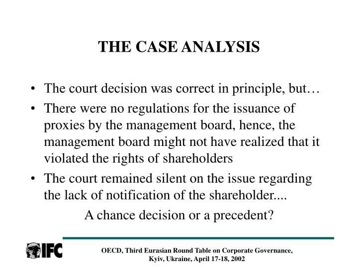 THE CASE ANALYSIS