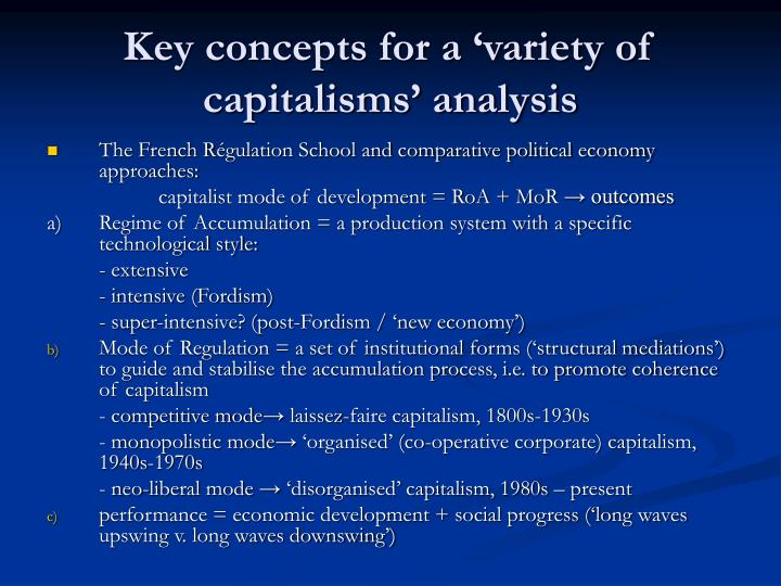 Key concepts for a variety of capitalisms analysis