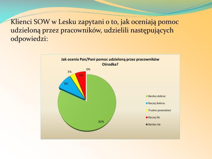 Klienci SOW w Lesku zapytani o to, jak oceniają pomoc udzieloną przez pracowników, udzielili następujących odpowiedzi: