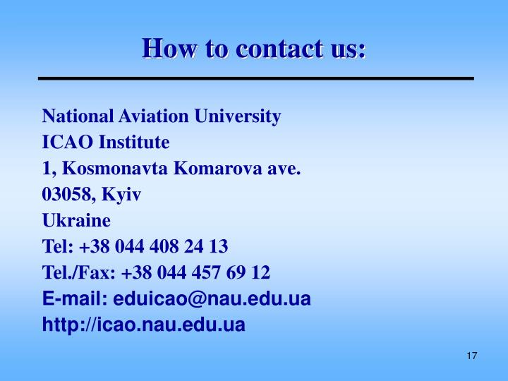 How to contact us: