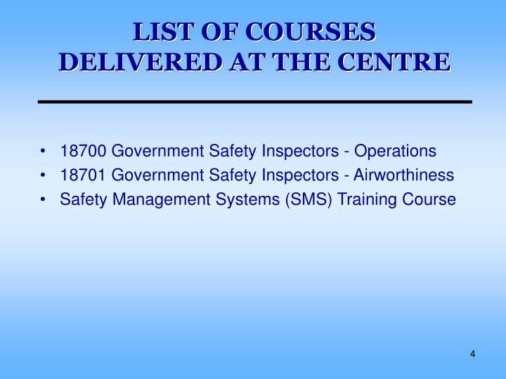 LIST OF COURSES