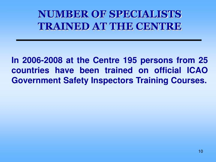 NUMBER OF SPECIALISTS TRAINED AT THE CENTRE
