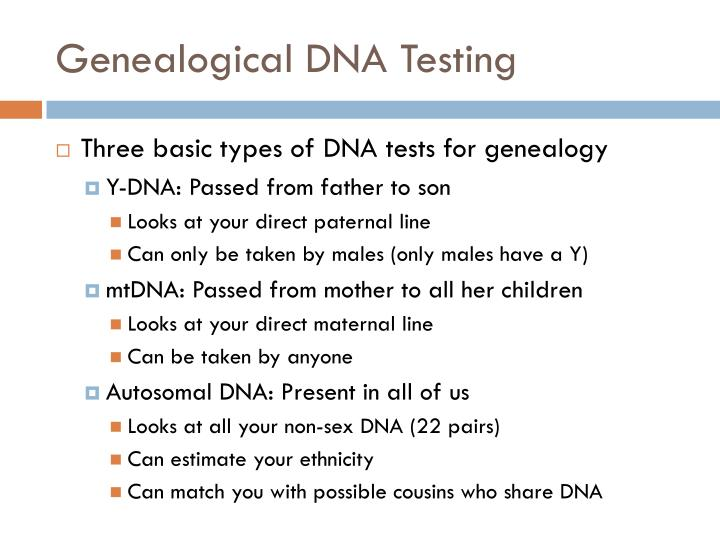 Genealogical DNA Testing