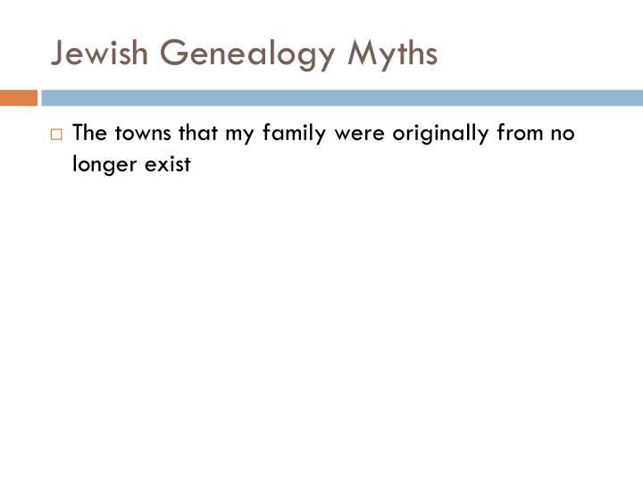 Jewish Genealogy Myths