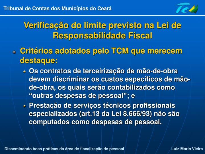 Verificação do limite previsto na Lei de Responsabilidade Fiscal