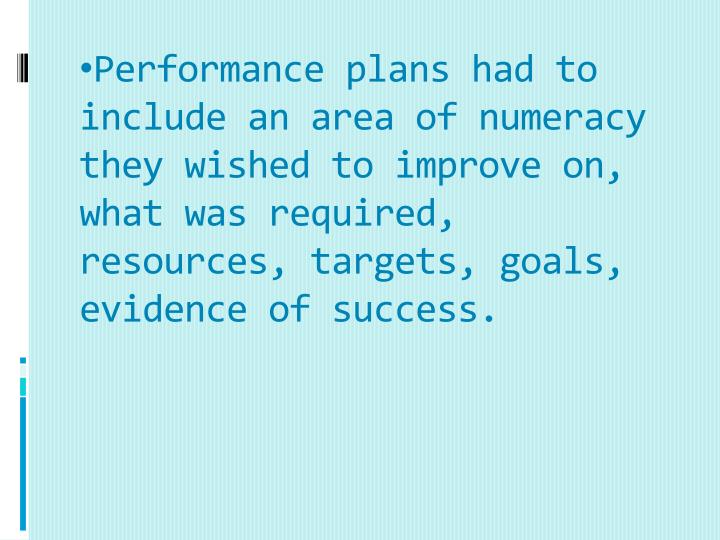 Performance plans had to include an area of numeracy they wished to improve on, what was required, resources, targets, goals, evidence of success.