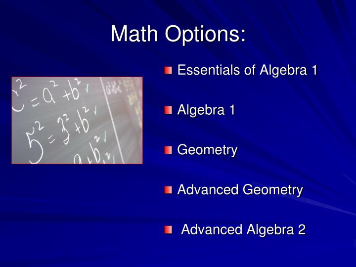 Math Options:
