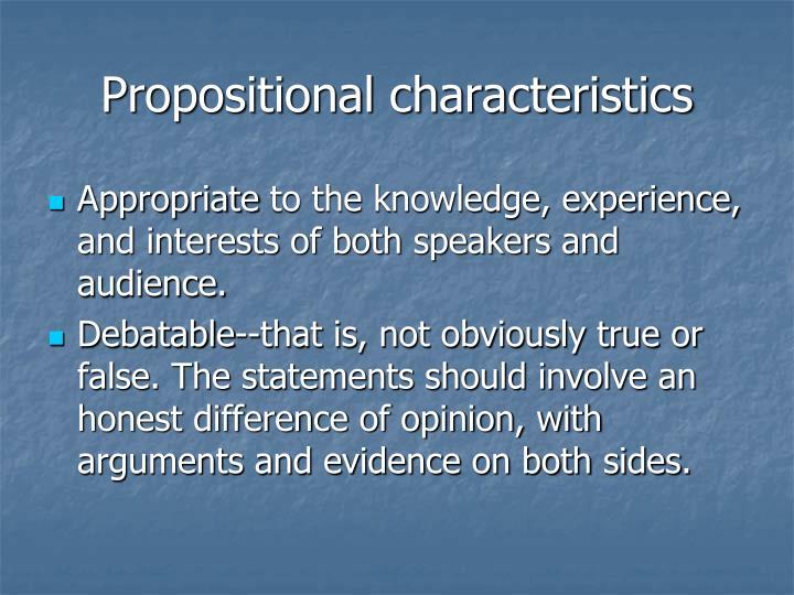 Propositional characteristics