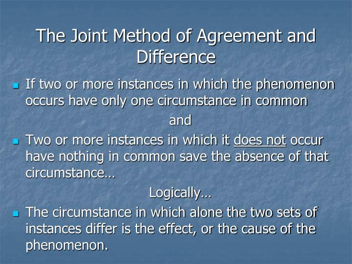 The Joint Method of Agreement and Difference