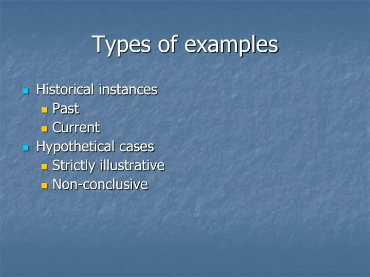 Types of examples
