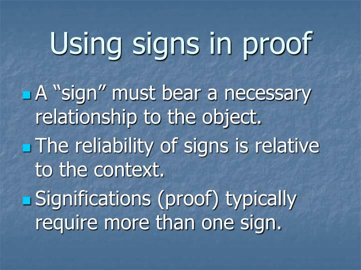 Using signs in proof