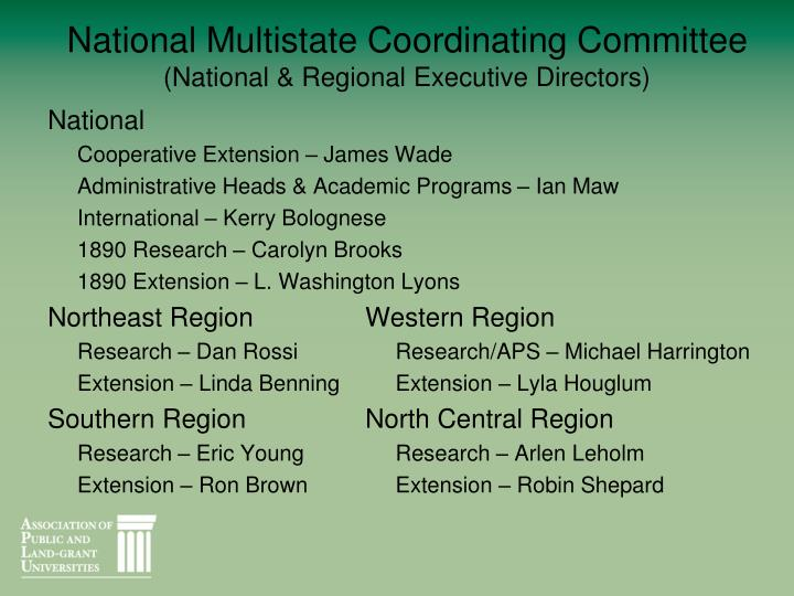 National Multistate Coordinating Committee