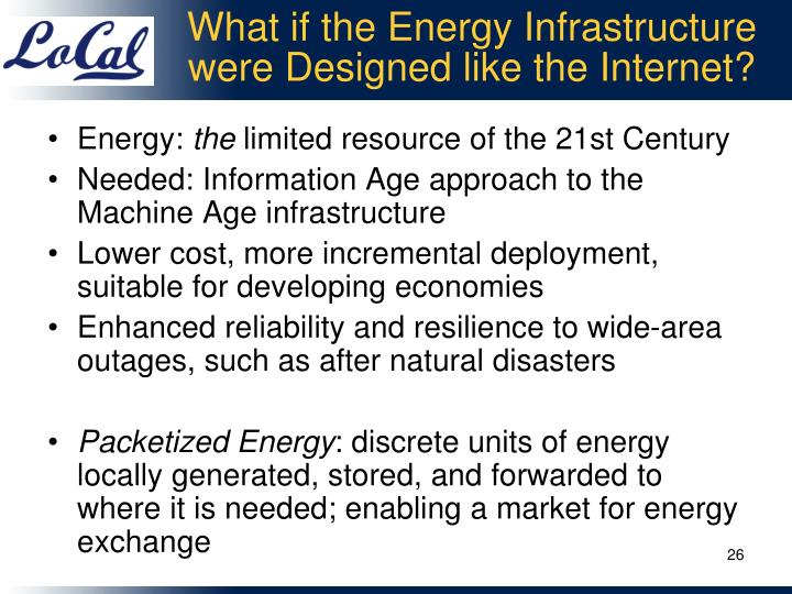 What if the Energy Infrastructure were Designed like the Internet?
