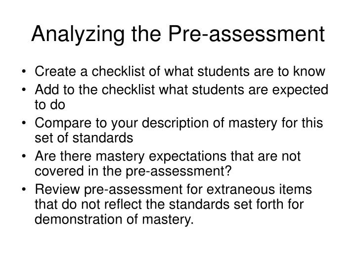 Analyzing the Pre-assessment