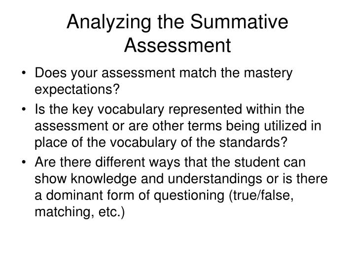 Analyzing the Summative Assessment