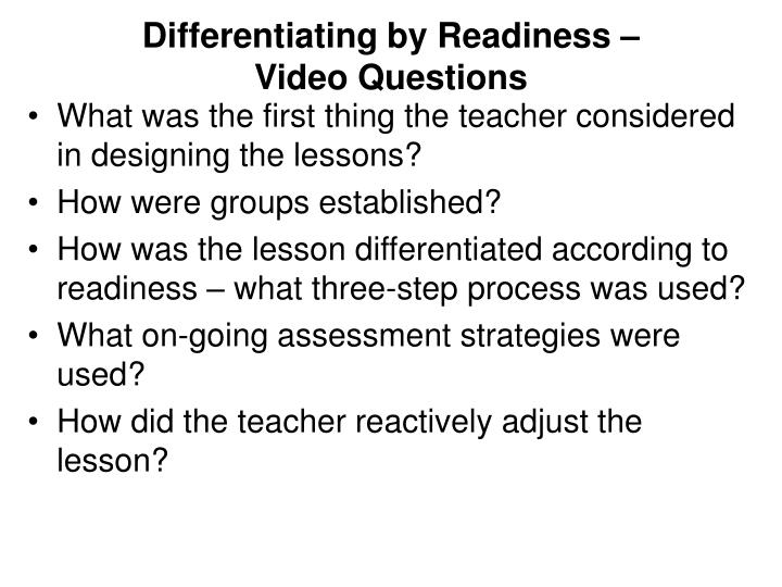 Differentiating by Readiness –