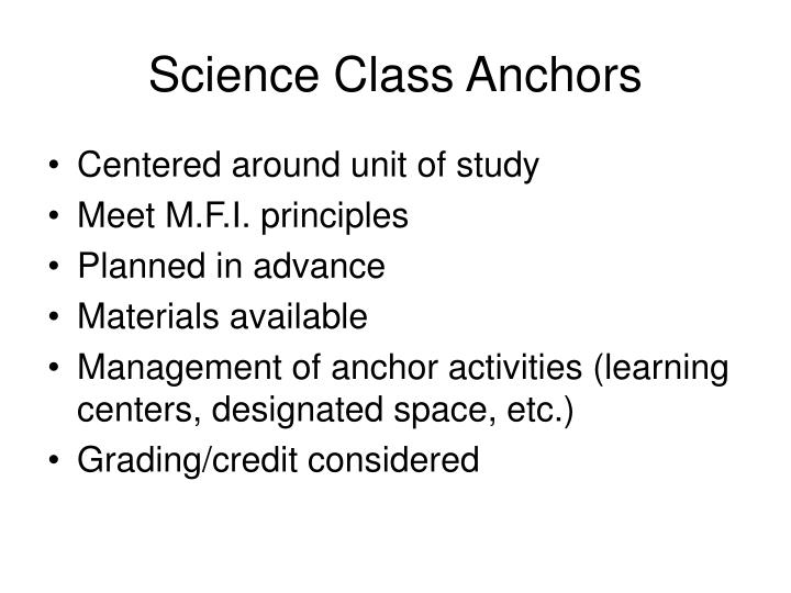 Science Class Anchors