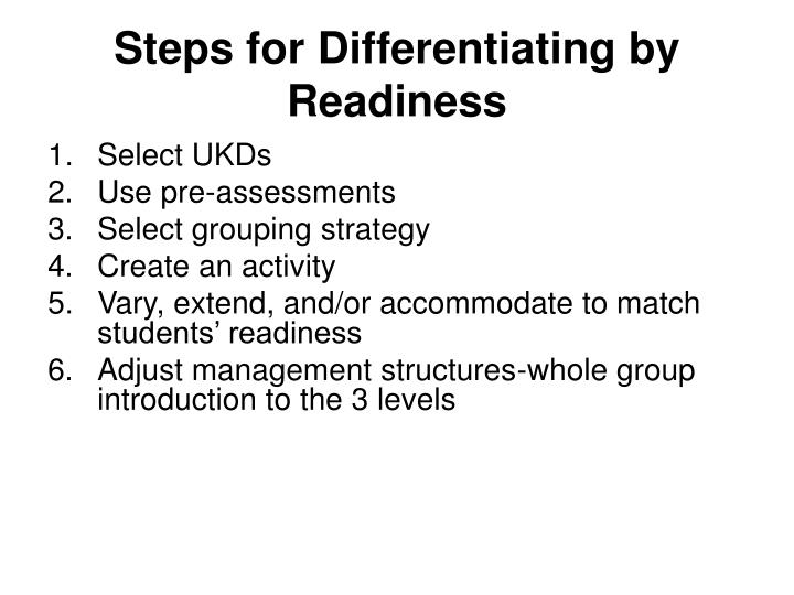 Steps for Differentiating by Readiness