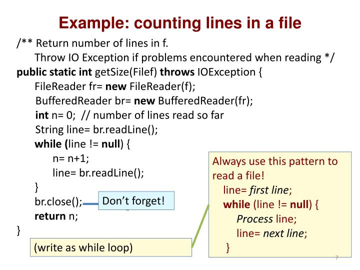 Example: counting lines in a file