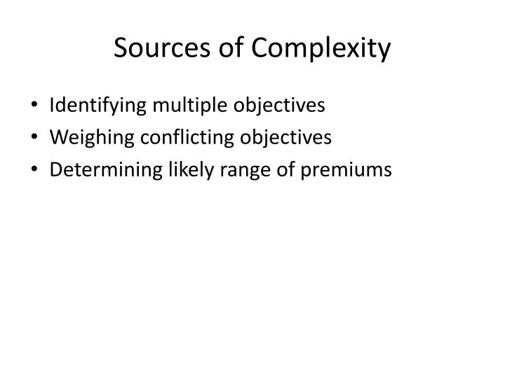 Sources of Complexity