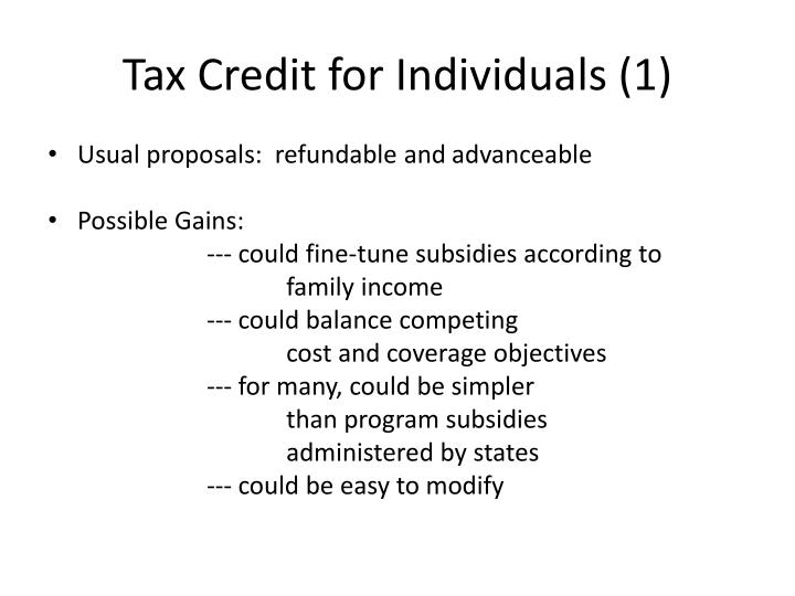 Tax Credit for Individuals (1)