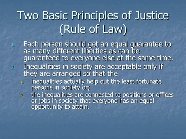 Two Basic Principles of Justice (Rule of Law)