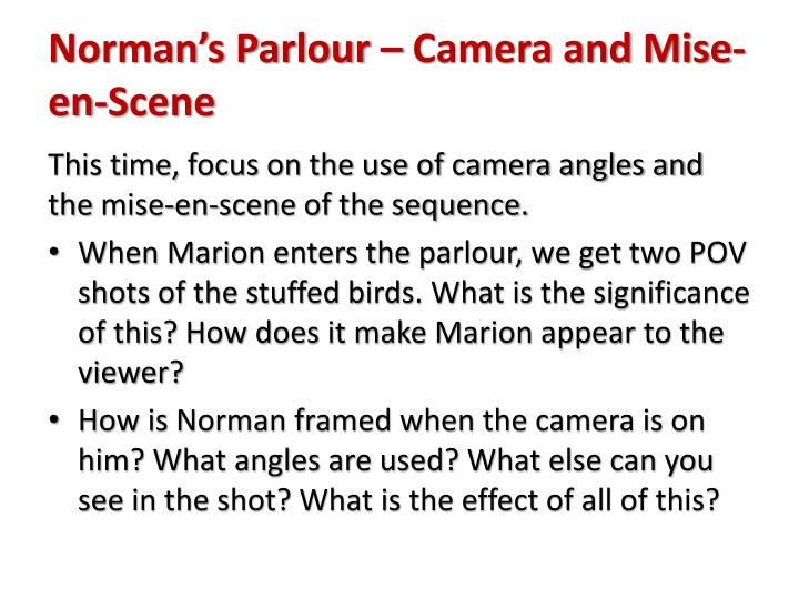 Norman's Parlour – Camera and