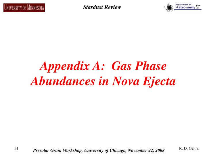 Appendix A:  Gas Phase Abundances in Nova Ejecta