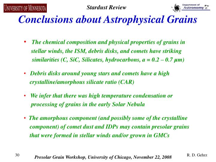 Conclusions about Astrophysical Grains