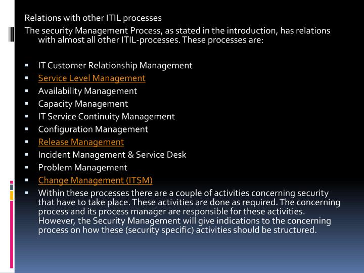 Relations with other ITIL processes
