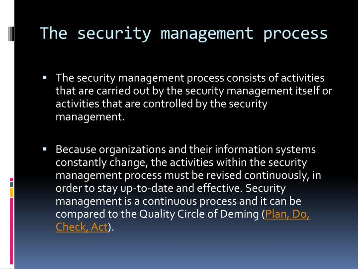 The security management process