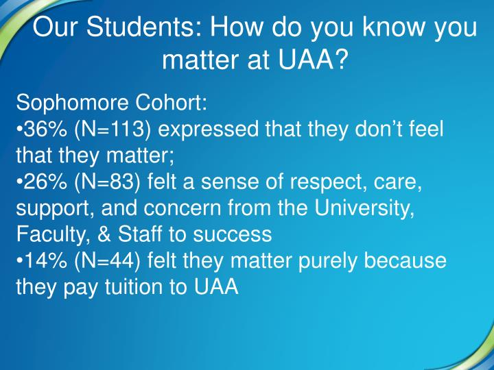 Our Students: How do you know you matter at UAA?